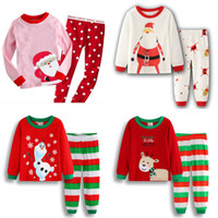 Wholesale santa claus clothes for sale - Group buy Kids Boys Christmas Outfits Design Toddler Cartoon Santa Claus Striped Casual Kids Designer Clothes Girls Cotton Leisure Clothes Sets