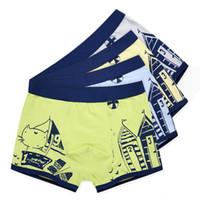 ingrosso mutandine di cotone giallo-Ragazzi Intimo Cartoon Bambini Pantaloncini Mutandine per neonati Boxer Stripes Teenager Underpants 4-14T