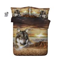 Wholesale comforter 3d bedding sets resale online - 150x200CM D Desert wolves bedding sets duvet cover bedspreads animal comforter cover Bed Linen Quilt Covers bed cover for children kids