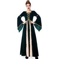 vestido de corte medieval venda por atacado-Retro Medieval Medieval Vestido Religioso Aristocrático Tribunal Verde Escuro Vestido de Halloween Mulheres Adultas Traje Desempenho Cosplay Outfit