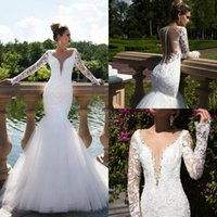Wholesale backless button wedding dress for sale - Group buy Long Sleeve Wedding Dresses With Plunging Neck Lace Appliqued Backless Beads Mermaid Wedding Dress Custom Made Country Style Bridal Gowns