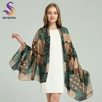 Wholesale pink green silk scarfs for sale - Group buy BYSIFA Brand Blue Green Silk Scarf Shawl Female Accessories Spring Autumn Floral Pattern Silk Women Long Scarves Wraps MX191022