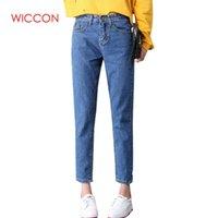 senhora escura venda por atacado-Namorado Azul escuro Jeans Mulheres Soltas Harem Cintura Alta Denim Calças Senhora Casual Mãe Jeans Mujer streetwear calças para mulheres S19713
