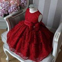 fashones de fantasía al por mayor-Fancy Red Lace Flower Girl Dress Grados Scoop Neck Boho Primera Comunión Vestidos Arco Sash Wedding Puffy vestido