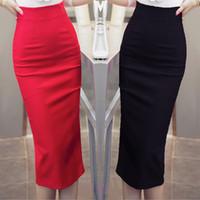 falda maxi roja más el tamaño al por mayor-TingYiLi Cintura alta Negro Rojo Falda larga Lápiz Señoras de la oficina Falda formal Maxi Mujeres elegantes Faldas largas Corte Más Tamaño
