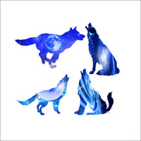 selbstklebende tieraufkleber groihandel-Starry Sky Wolves-Wand-Aufkleber Fantastische Tiere Home Decor selbstklebende Tapete Plakat-Kunst-Wohnzimmer Schlafzimmer Kreative blaue Applikationen