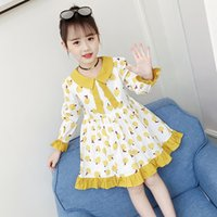 ingrosso abiti bimbi bambine-4 5 6 8 9 10 12 anni New Little Girls Primavera Bohemian Long Sleeve Fruits Stampa A-Line a pieghe Pincess Dress For Girls Dresses
