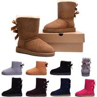 ботинки снега лодыжки оптовых-WGG Австралия классические зимние сапоги для женщин каштан черный серый розовый дизайнер снег лодыжки колено загрузки для женская обувь размер 5-10 быстрая доставка