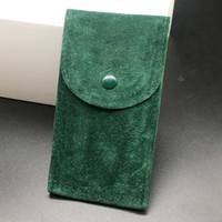 pochettes pour cadeaux achat en gros de-Haute qualité lisse vert pochette montre étui de protection pour Rolex montres cadeau de poche 12,8 cm