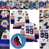 eishockey-patches groihandel-Wayne Gretzky Jersey St. Louis Blues Eishockey Trikots Home Away CCM Weiß Blau Start weg mit Ruhmeshalle-Patch