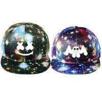 gorra coreana de beisbol al por mayor-DJ Marshmello Hat Game Around The Starry Hat Gorra plana Versión coreana de hombres y mujeres Visor Canvas Cap Gorra de béisbol ajustable