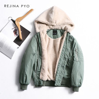 ingrosso donna verde parka caldo-REJIINAPYO Women Green Loose Parka Cappotto con cappuccio Patchwork Fodera in pile Womens Fashion Warm Winter Clothing Casual Capispalla