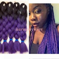 Wholesale tone ombre braiding hair purple resale online - Kanekalon Jumbo Synthetic Braiding Hair inch g Black dark purple Ombre Two tone Color Ombre synthetic Hair Extensions More colors