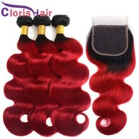 Wholesale two tone wavy weave for sale - Dark Roots B Red Body Wave Peruvian Virgin Human Hair Lace Closure With Bundles Colored Wavy Extensions Two Tone Red Ombre Weaves Closure