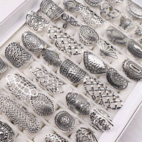 matrículas invisibles al por mayor-Las mujeres de Bohemia de la vendimia tallada anillos de joyería de plata Flor chapado de las mujeres del regalo del partido de 17 mm Tamaño 21 mm a la mezcla del estilo