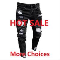 calças de brim de bambu mens venda por atacado-10 Styles Mens Jeans elásticos Ripped Skinny motociclista bordados Imprimir Destruído Buraco gravado Calças Slim Fit Denim riscado alta qualidade