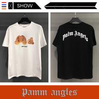 rolamento livre venda por atacado-O Logotipo Popular europeu e Americano PALM ANGELS T Camisa de Manga Curta Mens Designer T Camisas Teddy Bear Imprimir Versão Solta T camisa
