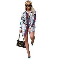 4xl röcke großhandel-Frauen 2019 Heißer Verkauf Kleider Mode Printi Casual Revers Hals Hemd Kleider Langarm Sommer Mini Kleider Dame Sexy Rock 3XL-5XL Plus Größe