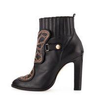 botas altas de charol al por mayor-Sophia Webster mariposa botines mujer bloque tacones altos remaches de oro botas tachonadas zapatos de charol mujer primavera invierno marca botas