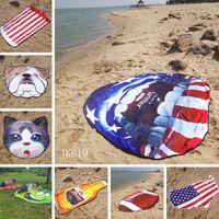 alfombra de bandera americana al por mayor-mantas redondas estadounidense playa de bandera tapete Moda forma irregular toalla de playa forma de la fruta al aire libre los niños juegan Soft Alfombras TTA872-13 estera