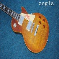 клен электрогитара корпус оптовых-Китай гитары Лучший Les Tiger Flame Maple Top Custom Shop Brown Mahogany Body 1959 R9 Электрогитара Free Shipping