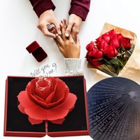ingrosso scatola dell'anello del fiore di rose-Charm Rose Flower Gift Box Decorazione per la casa con Charm Alta qualità Band Love Ring (100 lingue ti amo) Miglior regalo per amico