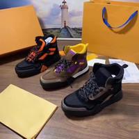 schwarze euro-mode-stiefel großhandel-Luxus Designer Herren Schuhe 2019 neue Mode Luxus Frauen Stiefel Leder schwere Sohlen komfortable atmungsaktive Freizeit mit Box