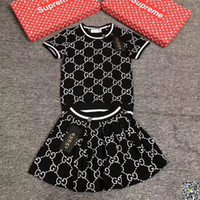 Wholesale baby girl summer dresses patterns resale online - Girl Suit Summer Korean Children Dress Pure Cotton Short Sleeve Twinset New Pattern In Will Child Letter Stripe Dress baby clothing set
