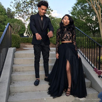 Wholesale piece prom dresses black lace resale online - New Black Long Sleeve Prom Dresses Formal Evening Party Pageant Gowns African Two Pieces Dress High Neck Plus Size Custom Made