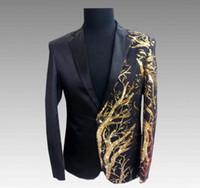 Wholesale blazers korea resale online - sequins blazer men suits designs Long sleeve jacket mens stage costumes for singers clothes dance star style dress masculino homme korea
