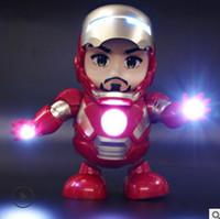 oyuncak aksiyon figürleri robotları toptan satış-Dans Demir Adam Action Figure Oyuncak robot LED El Feneri ile Ses Avengers Demir Adam Kahraman Elektronik Oyuncak çocuk oyuncakları