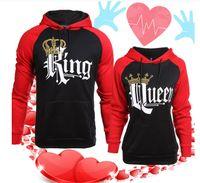 robe de couple achat en gros de-Manteau d'automne de style nouveau-mode QUEEN KING pull à capuche imprimé et à manches longues couples robe ensemble Hoodie