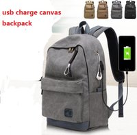 Wholesale tablets school for sale - Rechargeable canvas backpack Korean version of the headphones fashion trend high school student bag men s leisure travel backpack USB