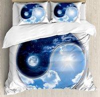 cama de espacio reina al por mayor-Juego de fundas nórdicas Space Yin Yang World con luna y sol Armonía del universo Lámina, juego de cama decorativo de 4 piezas