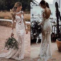 Wholesale sexy open back wedding dresses for sale - 2019 Sexy Beach Sheath Wedding Dresses Illusion Neck Open Back Applique Lace Plus Size Bohemian Bridal Gowns BC1076