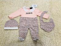 ternos romper bebê recém-nascido venda por atacado-F MENINAS Macacão recém-nascido Meninas Do Bebê Roupas cap Romper Bib terno de Algodão Roupas de Bebê conjunto de Layette NOVO