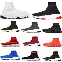 zapatos azules purpurina para mujer al por mayor-2019 NUEVOS hombres de la llegada mujeres Speed Trainer calcetín de la moda zapatos negros blancos brillo azul hombre planas Formadores Runner zapatillas de deporte de tamaño 36-45