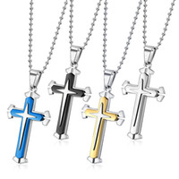 Wholesale black jade necklace pendant for sale - Group buy Stainless Steel Chain Layer Knight Cross Silver Gold Black Color Mens Necklace Pendant Jewelry Gifts Fashion Accessories
