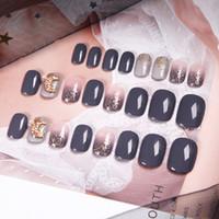 nette 3d nagelkunst großhandel-Frauen Sommer Strandurlaub Gefälschte Nägel Mädchen Candy Farbe Grau Rosa Nail Art Tipps mit Kleber 3D Mond Stil Design Nette Falsche Nägel