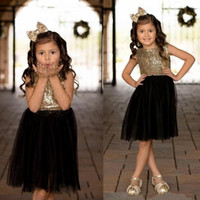 Wholesale caps for wedding online - Black Gold Sequins Tulle Flower Girls Dresses For Weddings Children Party Birthday Dresses Sparkly Girls Pageant Gowns BC0942