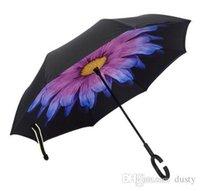 ingrosso grande piegatura ombrello-Moda creativa Pieghevole Big C Maniglia Uomo / Donna Ombrello invertito Cielo Reverse Antivento Ombrellone da sole