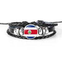 ingrosso riso nero-Vetro Cabochon Costa Rica Bandiera nazionale Coppa del mondo di calcio Fan Braccialetto di fascino per le donne uomini fatti a mano in pelle nera corda perline gioielli regali