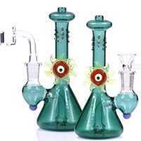 Wholesale arm percolator bong for sale - Mysterious EYE clear glass bong water pipes Mini bubbler with quartz banger or bowl glass bongs arms percolator bongs dab rig oil rigs