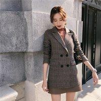 женская прямая куртка оптовых-Осень зима женщина винтажный клетчатый пиджак прямая повседневная шерстяная куртка Костюм плед тонкий блейзер женский шерстяной женский