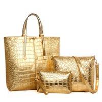 büyük altın poşetler toptan satış-Kaliteli 3 adet / takım Kadınlar Için Büyük Kapasiteli Omuz Çantası Moda Altın Timsah Deri Çanta Bayan Altın Gümüş Büyük Tote Çanta