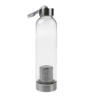 quadratische milchflaschen großhandel-Glas-Sport-Wasserflasche mit Teefilter-Infuser-Schutzbeutel 550ml C19041601