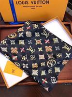 ingrosso sciarpa pashmina stagione-2019 Sciarpe di seta da quattro stagioni da donna alla moda e belle lettera di marca fiore scialle sciarpa scialle taglia 180 * 90 cm sciarpa