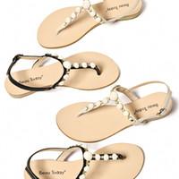 Wholesale pig feet resale online - 2020 Female Sandals Flat Bottom Pinch Feet Leisure Female Xia Wai Wear Rhinestone Rome Sandals