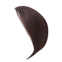 fringe haare großhandel-Echthaar Pony Haarteile Clip-in Seite Swept Bang Fringe Extensions (3cm, Braun)
