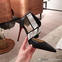 Wholesale size 34 dress shoes resale online - Classic sequined high heels for ladies Stiletto heels pointed leather sandals for sexy women Business dress shoes With box size